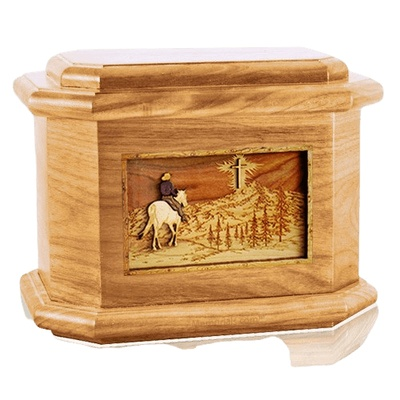 Last Horse Ride Oak Octagon Cremation Urn