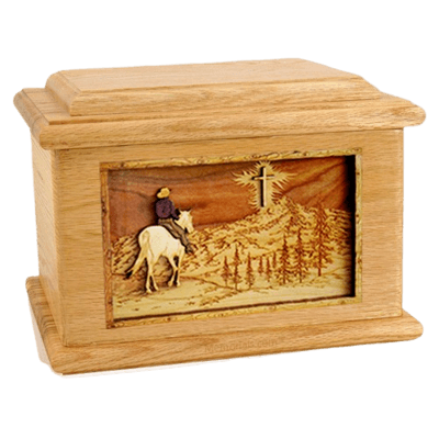 Last Horse Ride Oak Memory Chest Cremation Urn