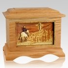 Last Horse Ride Oak Cremation Urn