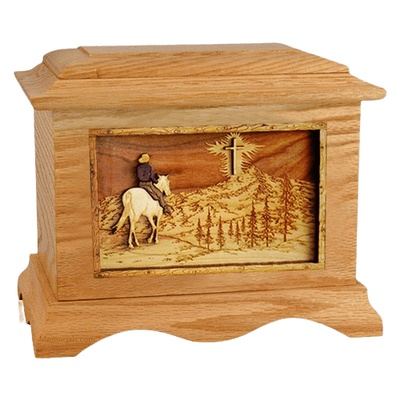Last Horse Ride Oak Cremation Urn