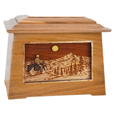 Motorcycle Mountains Oak Aristocrat Cremation Urn