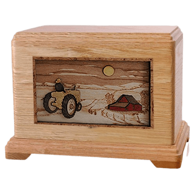 Tractor & Moon Oak Hampton Cremation Urn