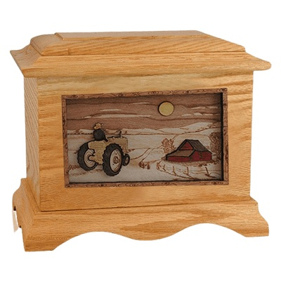 Tractor & Moon Oak Cremation Urn