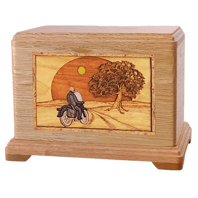 Motorcycle & Moon Oak Hampton Cremation Urn