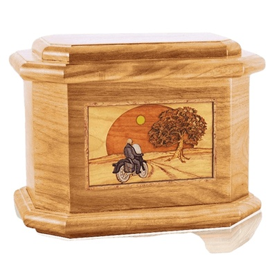 Motorcycle & Moon Oak Octagon Cremation Urn