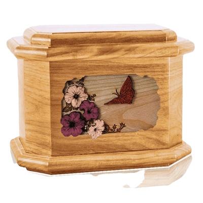 Butterfly Oak Octagon Cremation Urn