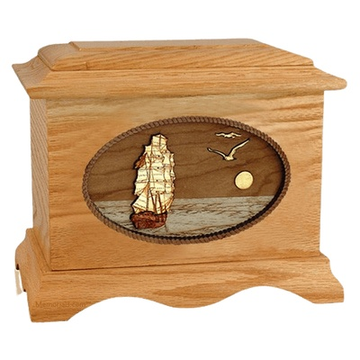 Sailing Home Oak Wood Cremation Urn