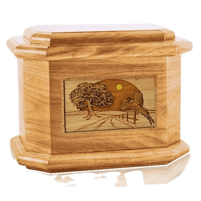 Pheasant Oak Octagon Cremation Urn