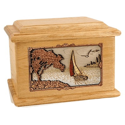 Sailboat Oak Memory Chest Cremation Urn