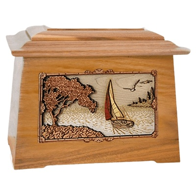 Sailboat Oak Aristocrat Cremation Urn