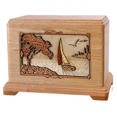Sailboat Oak Hampton Cremation Urn