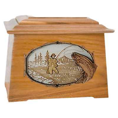 Fly Fishing Oak Aristocrat Cremation Urn