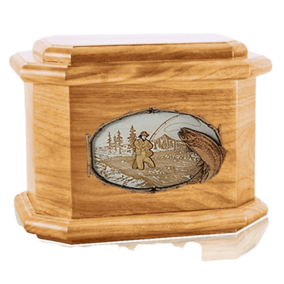 Fly Fishing Oak Octagon Cremation Urn