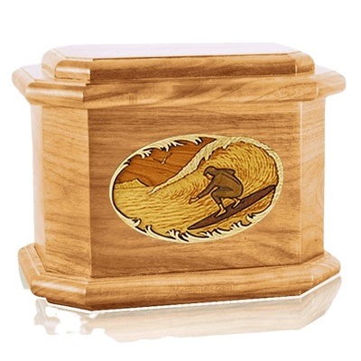 Surfer Oak Octagon Cremation Urn