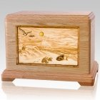 Walk On The Beach Oak Cremation Urn For Two