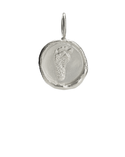Organic Footprint White Gold Keepsake Pendant