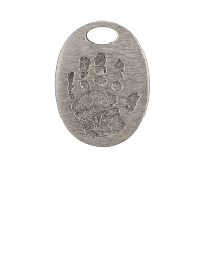 Oval Bronze Handprint Keepsake Pendant
