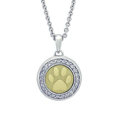 Diamond Paw Gold Cremation Pendant