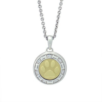 Bone and Paw Gold Cremation Pendant