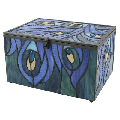 Peacock Cathedral Glass Memory Chest