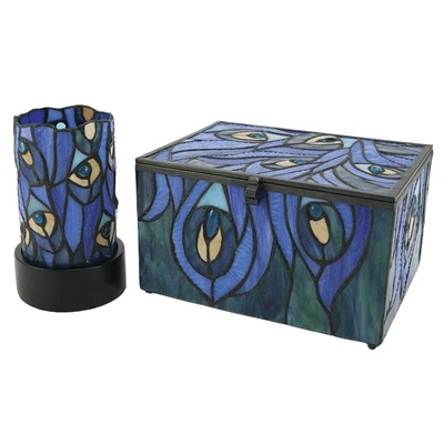 Peacock Cathedral Glass Memory Chests
