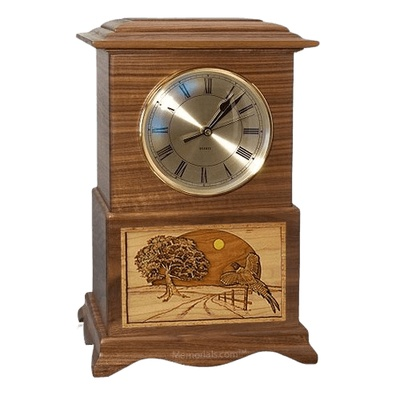 Pheasant Clock Walnut Cremation Urn