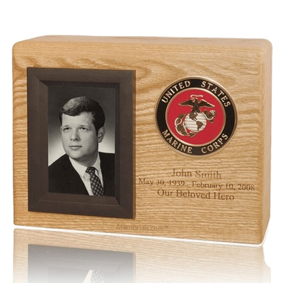 Photo Medallion Wood Cremation Urn