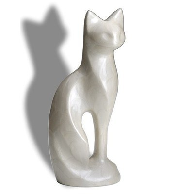 Posed White Cat Cremation Urn