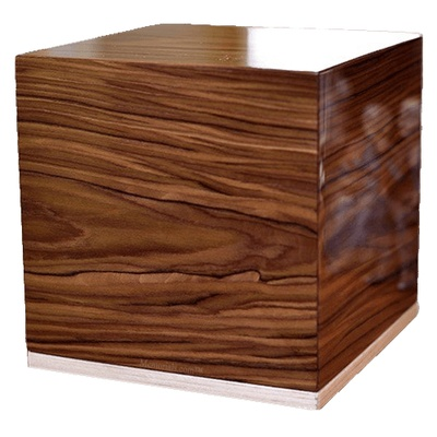 Grooved Wood Cremation Urn