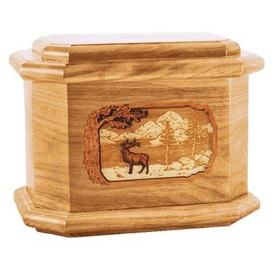Elk Oak Octagon Cremation Urn