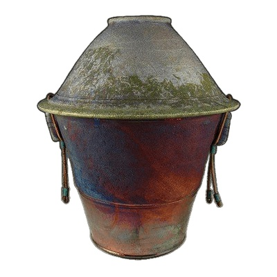 Watercolor Temple Raku Urn