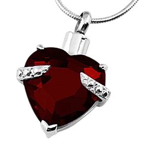 Red Heart Necklace for Ashes