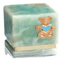 Innocence Light Onyx Teddy Blue Heart Cremation Urn