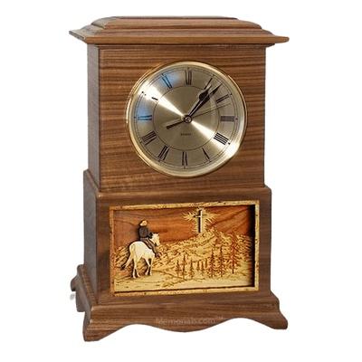 Riding and Cross Clock Walnut Cremation Urn