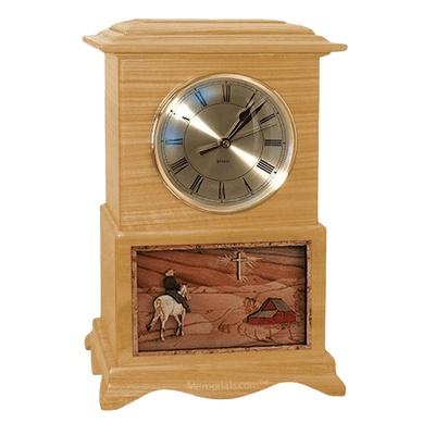 Riding and Farmhouse Clock Oak Cremation Urn
