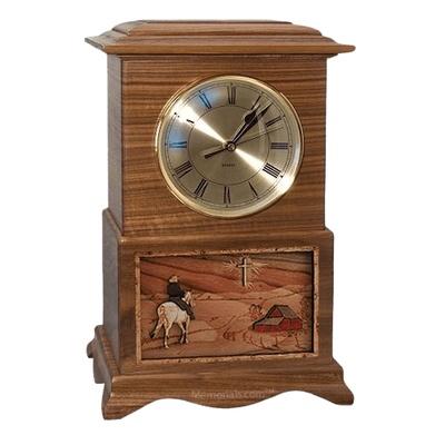 Riding and Farmhouse Clock Walnut Cremation Urn