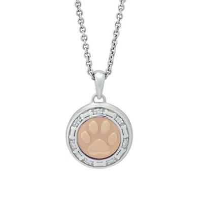 Bone and Paw Rose Cremation Pendant