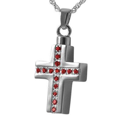 Ruby Crystal Cross Keepsake Pendant
