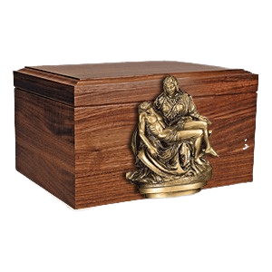 Sacred Figurine Wood Cremation Urn