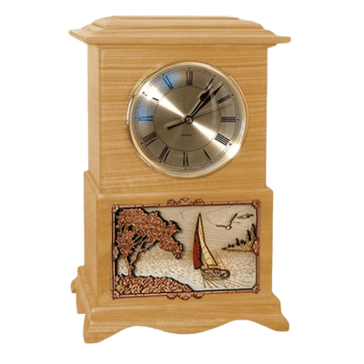 Sailing Clock Oak Cremation Urn