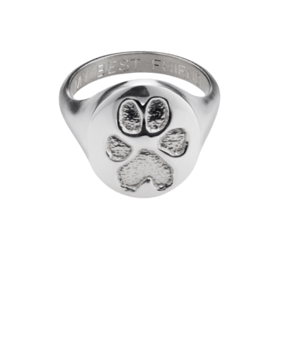 Pet Signet Ring Paw Print White Gold Keepsake