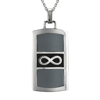 Silver Infinity Grey Cremation Pendant