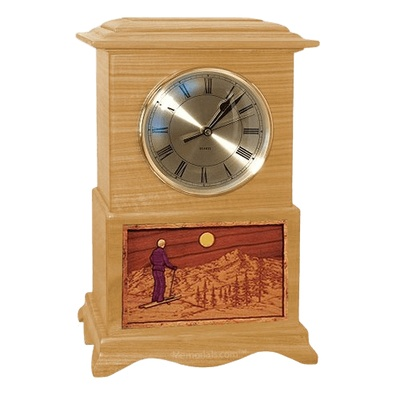 Skiing Clock Oak Cremation Urn