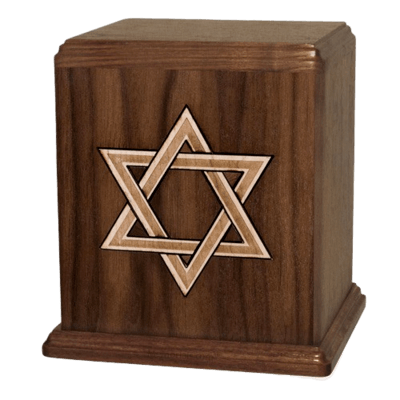 Star of David Walnut Cremation Urn