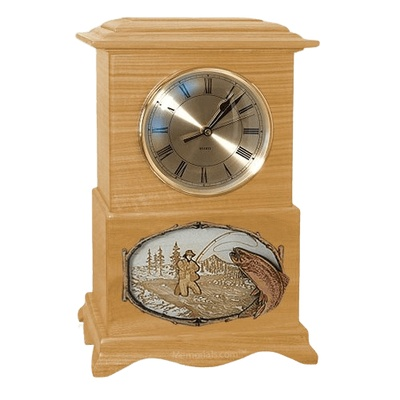 Streamfishing Clock Oak Cremation Urn