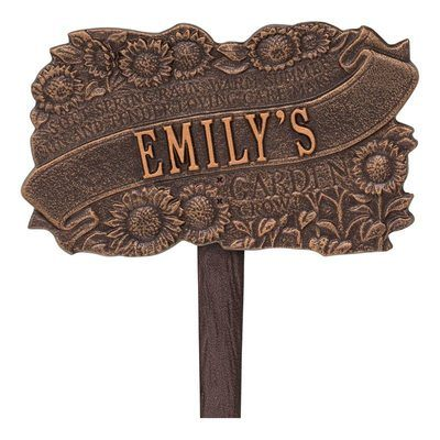 Personalized Sunflower Antique Dedication Plaque