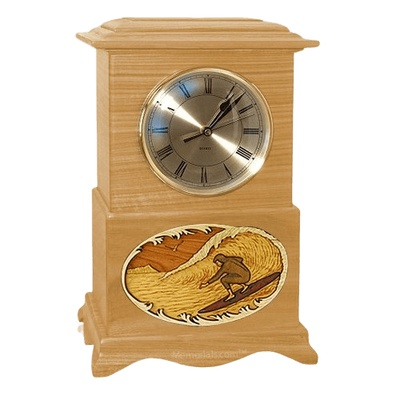 Surfing Clock Oak Cremation Urn