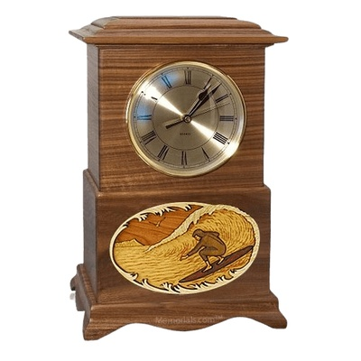 Surfing Clock Walnut Cremation Urn