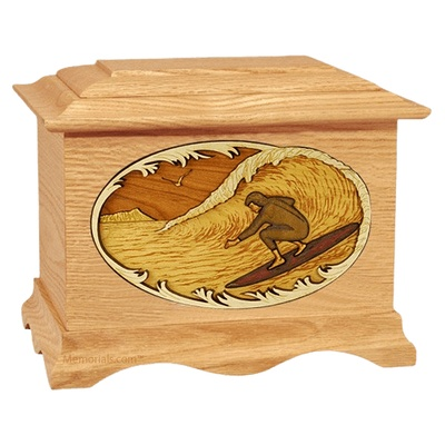 Surfer Oak Cremation Urn