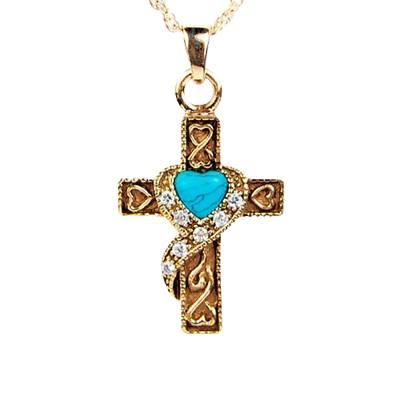 Swirl Blue Cross Keepsake Jewelry IV
